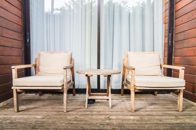 terrasse med træbrædder